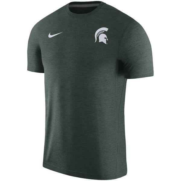 Nike Michigan State Dry Top Coach Short Sleeve Tee Green