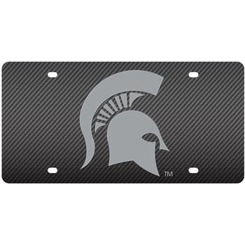 Spartan Helmet Carbon Fiber Style License Plate - shop.msu.edu