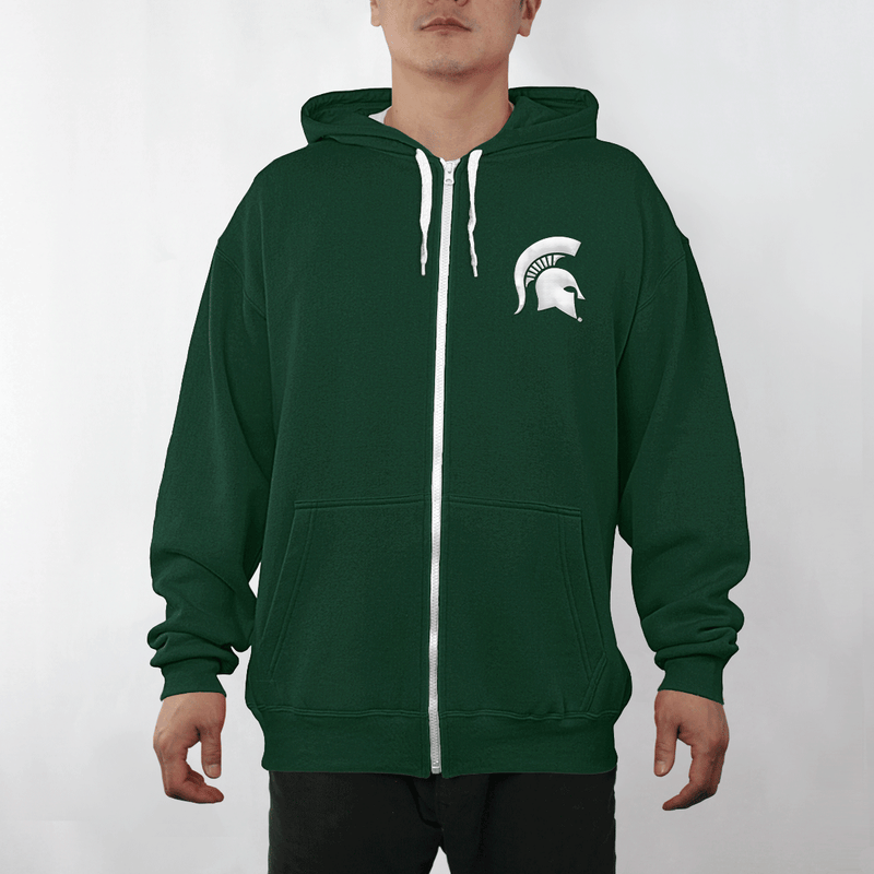 Embroidered Spartan Helmet Full-Zip Hoody - shop.msu.edu