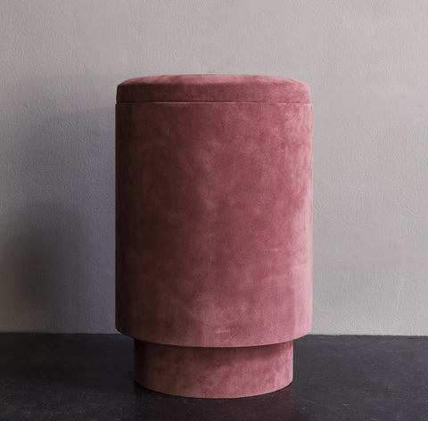 Pouf in suede - rose