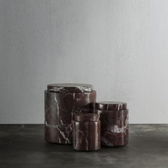 Jar in calacatta rosso levanto marble - large