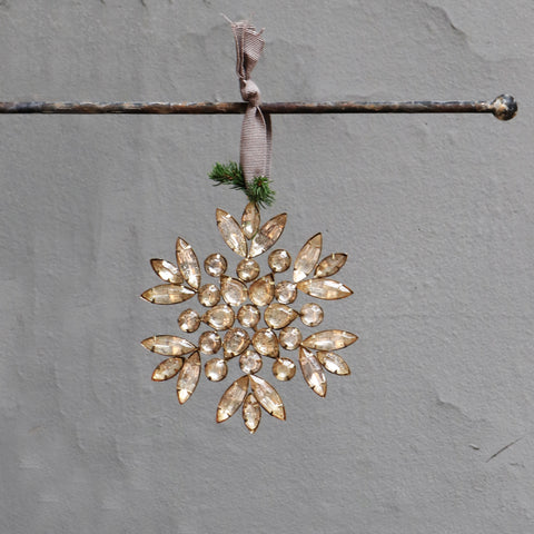 Hanging jewel beaded snowflake