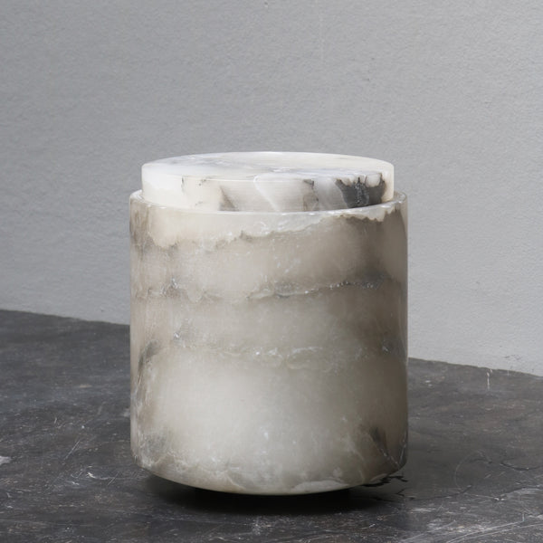 Large alabaster jar with lid