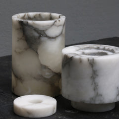 Large cylindrical vase in white/grey alabaster