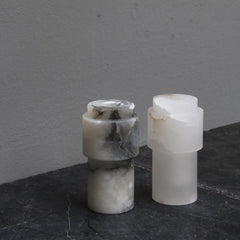 Small cylindrical vase in white/grey alabaster