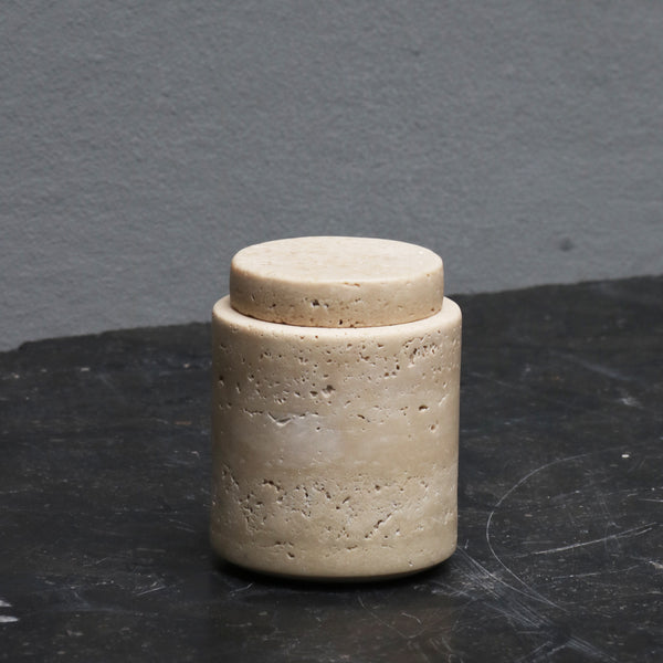 Small marble travertin jar with lid