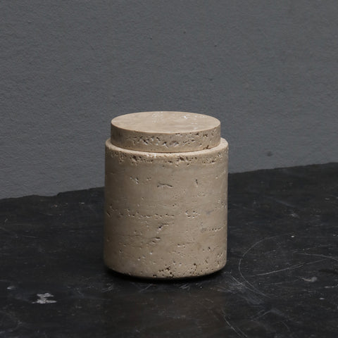 Medium marble travertin jar with lid