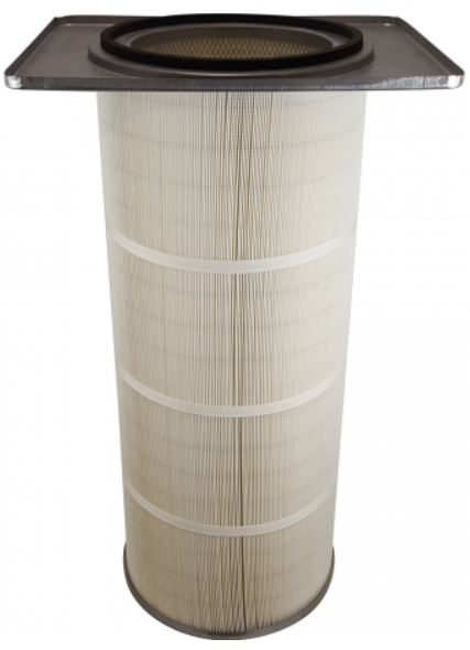 21in x 16.75in Flanged, Round 12.8in x 36in long Dust Collector Cartridge, 80/20 Blended Paper Wide Pleat and 2 Straps