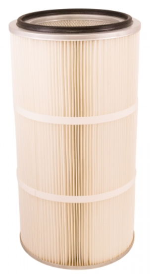 Round 12.8in x 26in Open/Closed Dust Collector Cartridge, Spunbond Polyester