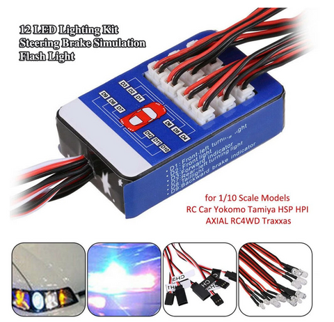 12 LED Lighting Kit Steering Brake Simulation Flash Light for 1/10 Yokomo Tamiya HSP HPI RC Car