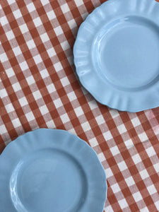Pair of Scalloped Blue Plates