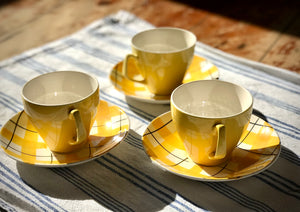 Yellow Check Tea Cups