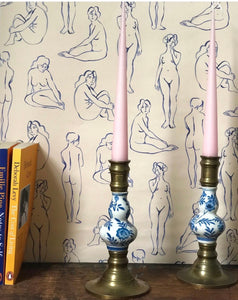 Brass and Ceramic Candlesticks