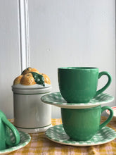 Load image into Gallery viewer, Green Checked Tea Cups