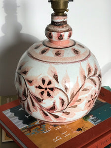 Pink pottery lamp
