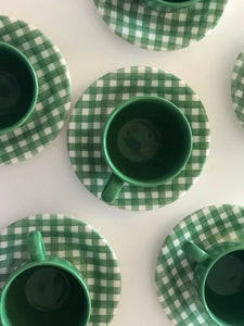 Green Checked Tea Cups