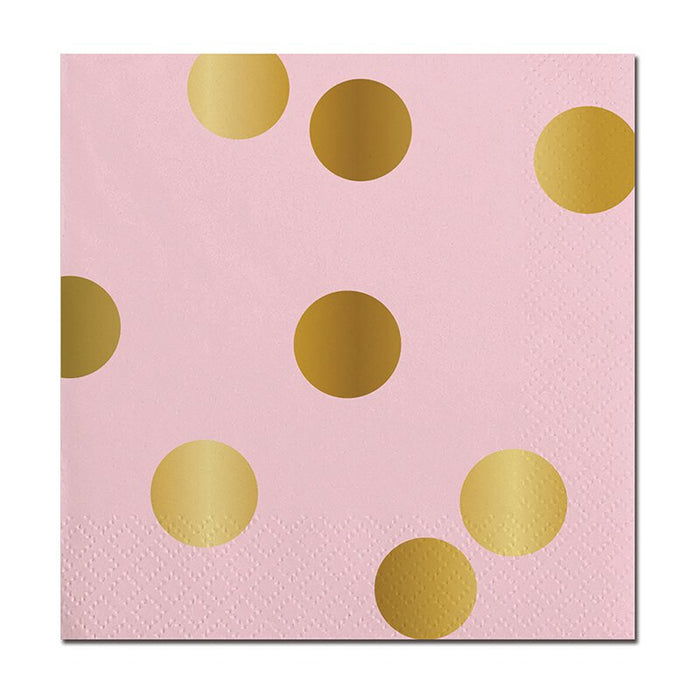 Pink with Gold Dots Beverage Napkins