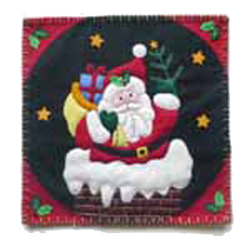 Santa's Visit Embroidered Pillow