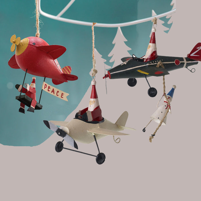 Flying Santa & Snowman Ornaments