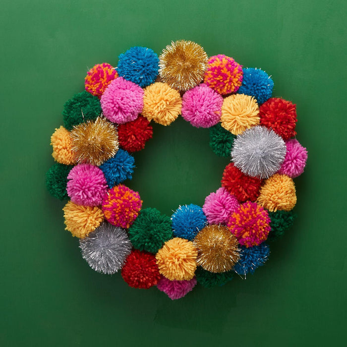 Colorful Pom Pom Wreath