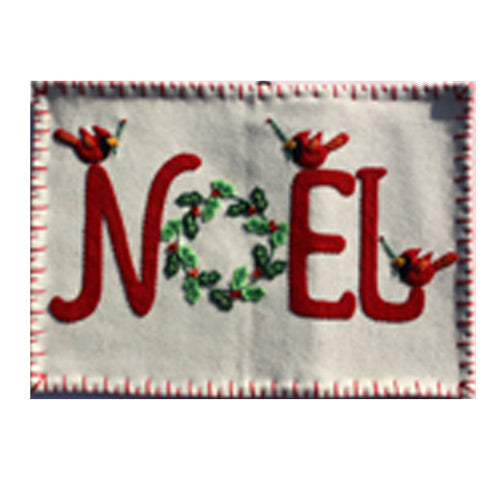 Noel and Cardinals Embroidered Felt Pillow