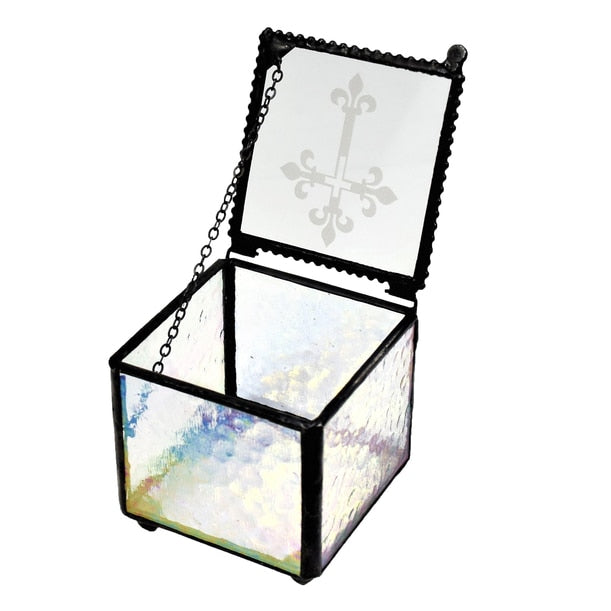 Glass Box with Cross Etching