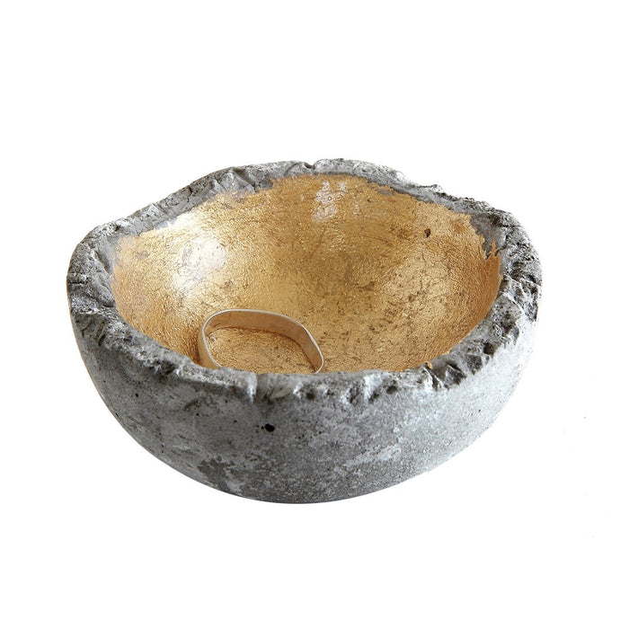 Small Cement Bowl with Gold Interior