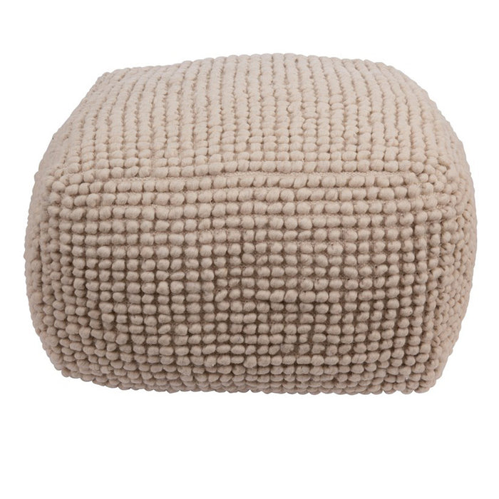 Wool Knotted Pouf- Natural