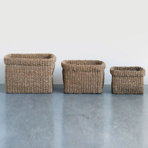 Natural Woven Seagrass Baskets, Set of 3