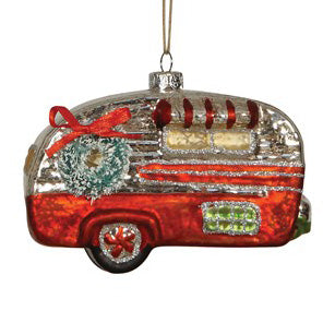Glass Camper Ornament