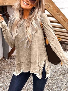 Crew Neck Casual Long Sleeve Tops