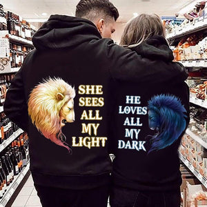 He Sees All My Light He Loves All My Dark Lion Couple Hoodie,Kangaroo Pocket