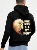 Load image into Gallery viewer, He Sees All My Light He Loves All My Dark Lion Couple Hoodie,Kangaroo Pocket