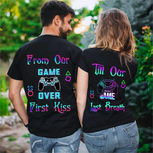 From Our First Kiss Till Our Last Breath Gamepad Couple T-Shirts
