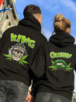 Load image into Gallery viewer, King Queen Green Skull&Lip Printing Couple Hoodie,Kangaroo Pocket