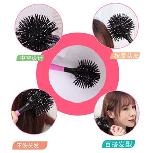 3D Round Hair Brushes Comb Salon make up 360 degree Ball Styling
