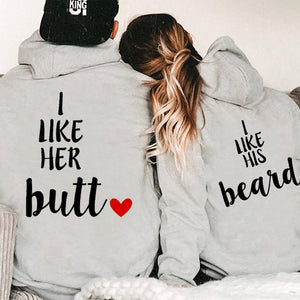 I Like Her Butt I Like His Beard Couple Hoodie,Kangaroo Pocket