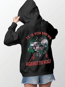 It's You And Me Against The World Skull Printing Couple Hoodie,Kangaroo Pocket