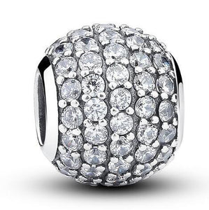 925 Sterling Silver Dazzling Clear CZ Charm Beads
