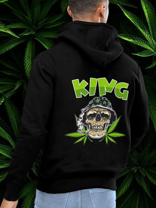 King Queen Green Skull&Lip Printing Couple Hoodie,Kangaroo Pocket