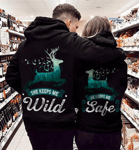 She Keeps Me Wild Matching Couple Hoodie, Kangaroo Pocket, Brushed Inside