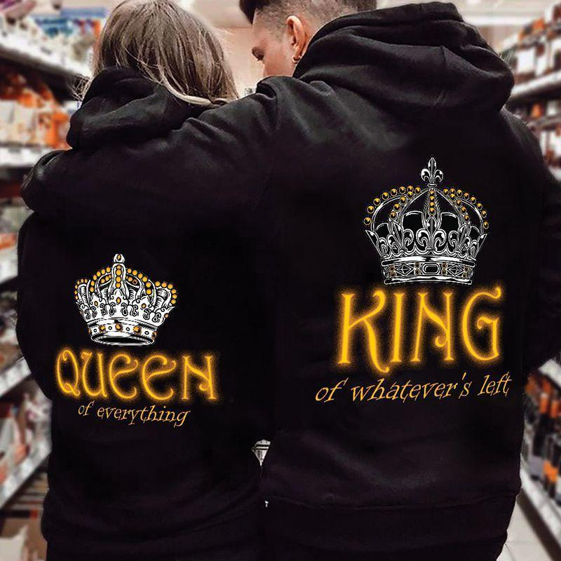 King Of What's Your Left Queen Of Everything Crown Printing Couple Hoodie,Kangaroo Pocket