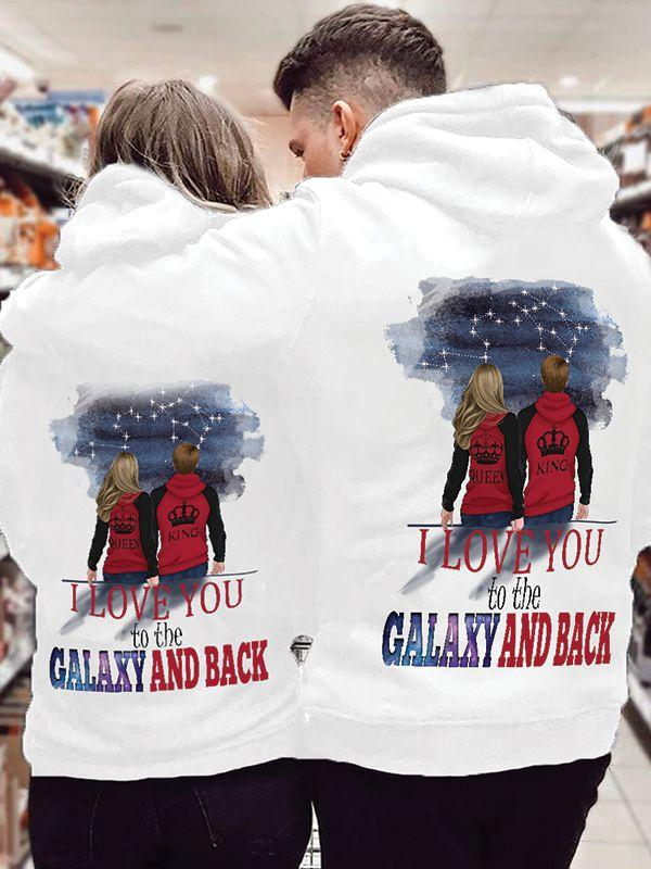 I Love You To The Galaxy And Back Couple Hoodie,Kangaroo Pocket