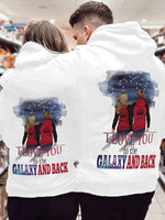 Load image into Gallery viewer, I Love You To The Galaxy And Back Couple Hoodie,Kangaroo Pocket