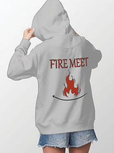 Fire Meet Gasoline Couple Hoodie,Kangaroo Pocket