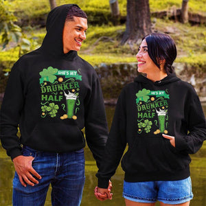 She's My Drunker Half He's My Drunker Half Beer Couple Hoodie,Kangaroo Pocket