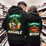 Load image into Gallery viewer, Kiss Me I'm An Asshole Kiss Me I'm A Bitch Skull And Red Lip Couple Hoodie,Kangaroo Pocket