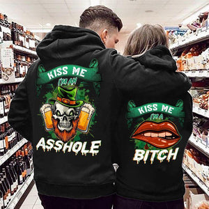 Kiss Me I'm An Asshole Kiss Me I'm A Bitch Skull And Red Lip Couple Hoodie,Kangaroo Pocket