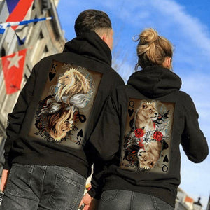 Lion Poker K&Q Couple Hoodie, Kangaroo Pocket