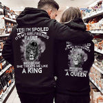 Load image into Gallery viewer, Yes!I'm Spoiled,It's My Wife's/Husband's Fault Because She/He Tearts Me Like A King/Queen Lion Couple Hoodie With Kangaroo Pocket